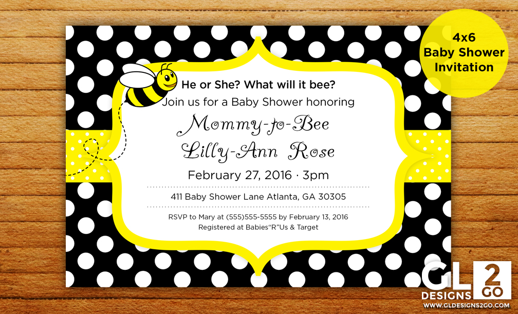 What Will It Bee Mommy To Theme Baby Shower Invitation