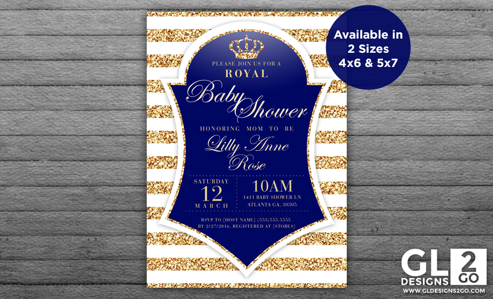 Prince Theme Baby Shower Invitation - GLDesigns 2 Go