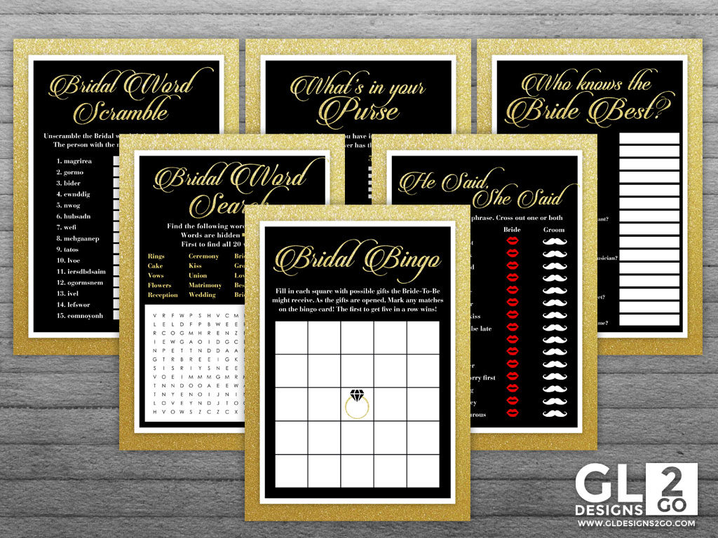 gold and black bridal shower game pack