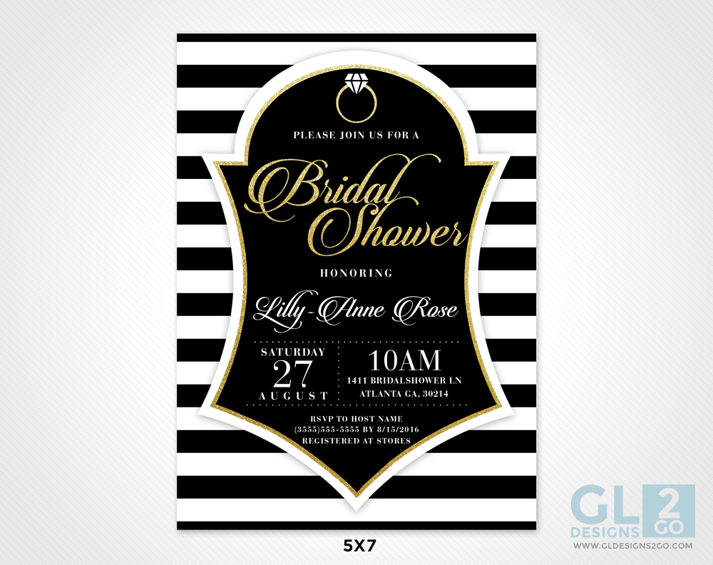 Black white gold bridal shower invitation gldesigns 2 go black white gold bridal shower invitation filmwisefo