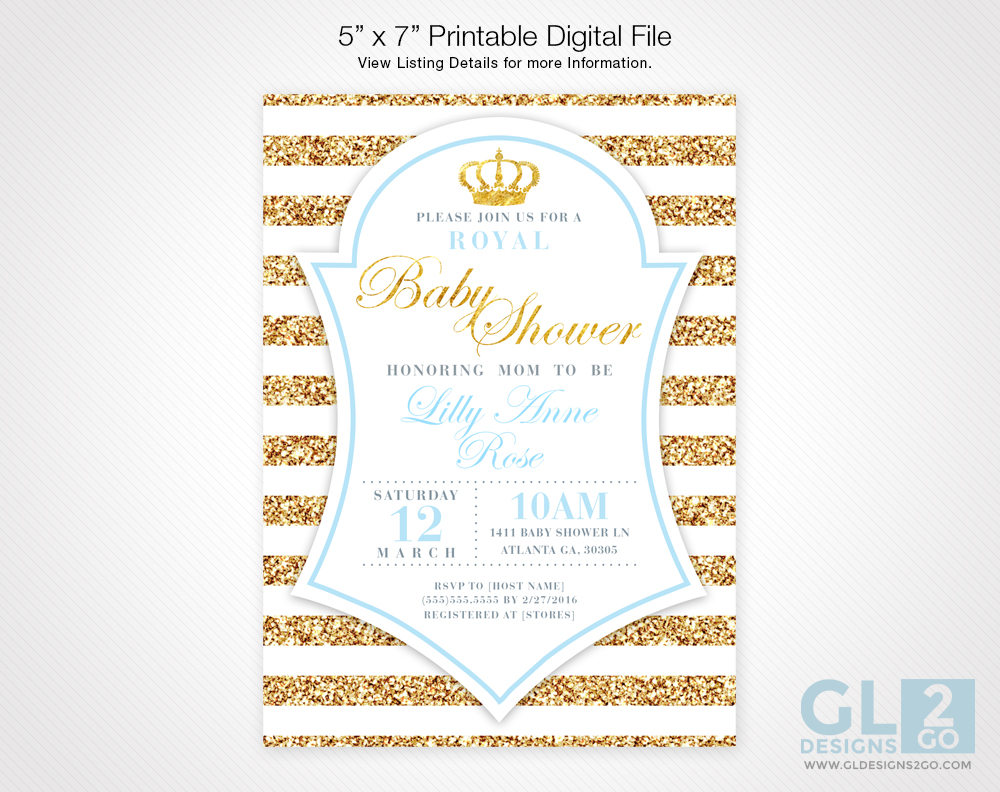 Prince Baby Shower Invitation : Light Blue - GLDesigns 2 Go