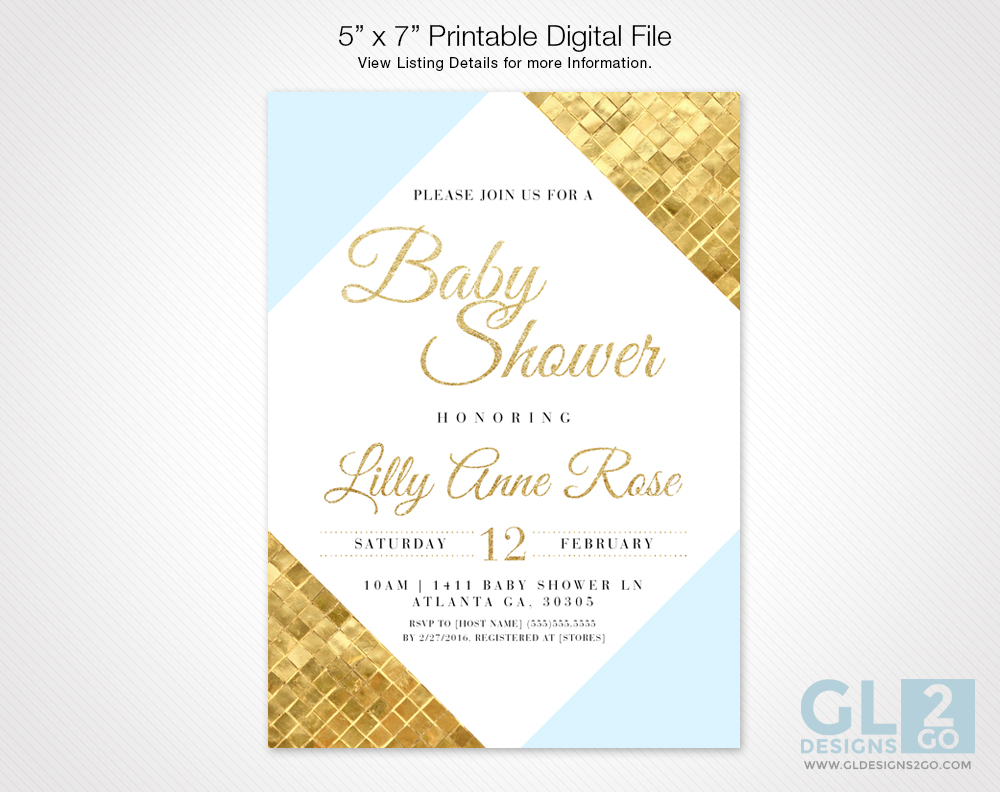 Blue and gold color block baby shower invitation gldesigns 2 go blue and gold color block baby shower invitation filmwisefo