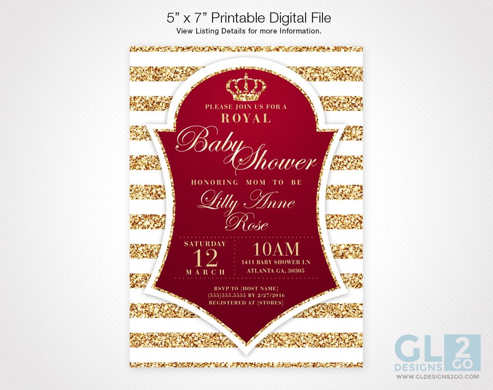 Red Prince Theme Baby Shower Invitation